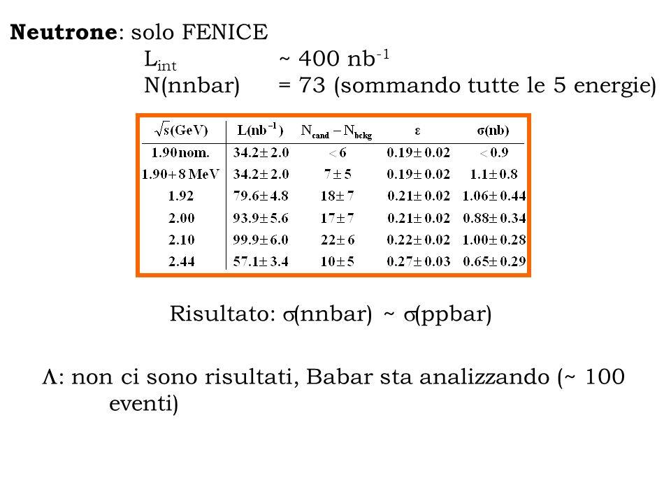 Neutrone : solo FENICE L int ~ 400 nb -1 N(nnbar) = 73 (sommando tutte le 5 energie) : non ci sono risultati, Babar sta analizzando (~ 100 eventi) Risultato: (nnbar) ~ (ppbar)