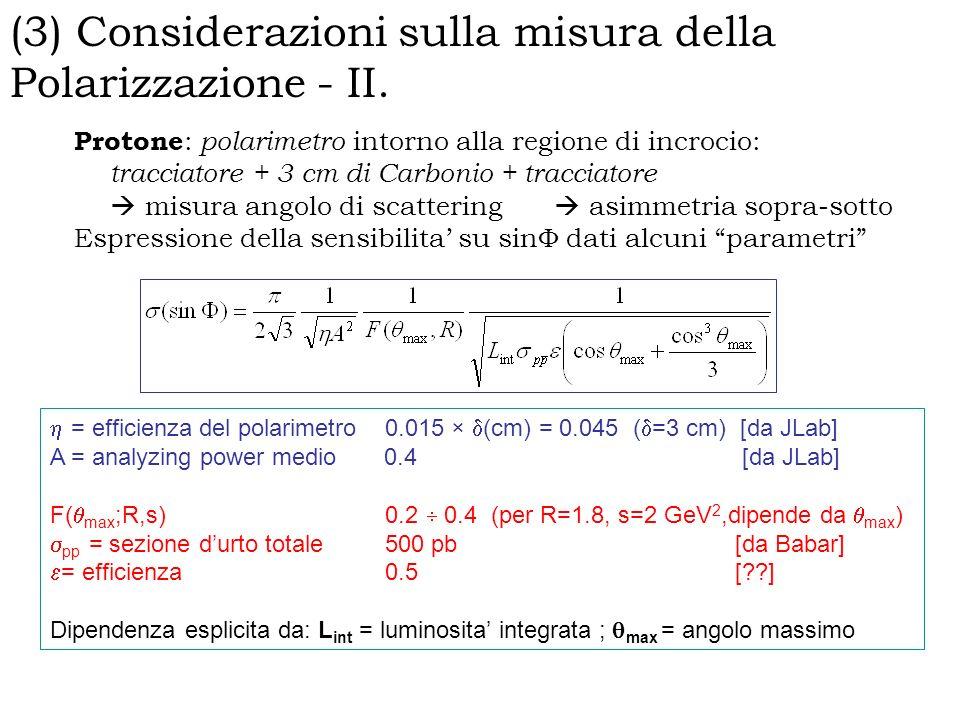 Protone : polarimetro intorno alla regione di incrocio: tracciatore + 3 cm di Carbonio + tracciatore misura angolo di scattering asimmetria sopra-sotto Espressione della sensibilita su sin dati alcuni parametri = efficienza del polarimetro 0.015 × (cm) = 0.045 ( =3 cm) [da JLab] A = analyzing power medio 0.4 [da JLab] F( max ;R,s) 0.2 0.4 (per R=1.8, s=2 GeV 2,dipende da max ) pp = sezione durto totale 500 pb [da Babar] = efficienza 0.5 [??] Dipendenza esplicita da: L int = luminosita integrata ; max = angolo massimo (3) Considerazioni sulla misura della Polarizzazione - II.