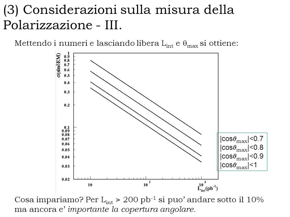 (3) Considerazioni sulla misura della Polarizzazione - III.