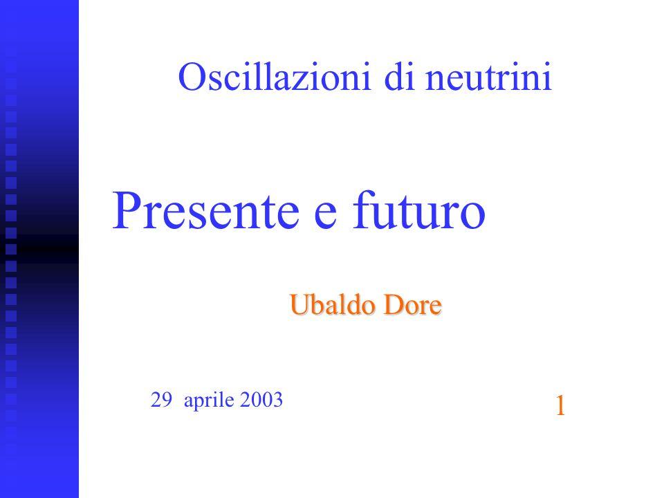 ubaldo dore oscillazioni1 Oscillazioni di neutrini Ubaldo Dore Presente e futuro 29 aprile 2003 1