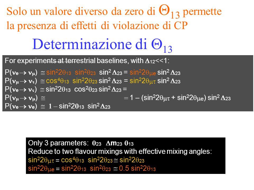 ubaldo dore oscillazioni34 For experiments at terrestrial baselines, with 12 <<1: P( e ) sin 2 2 13 sin 2 23 sin 2 23 = sin 2 2 e sin 2 23 P( ) cos 4