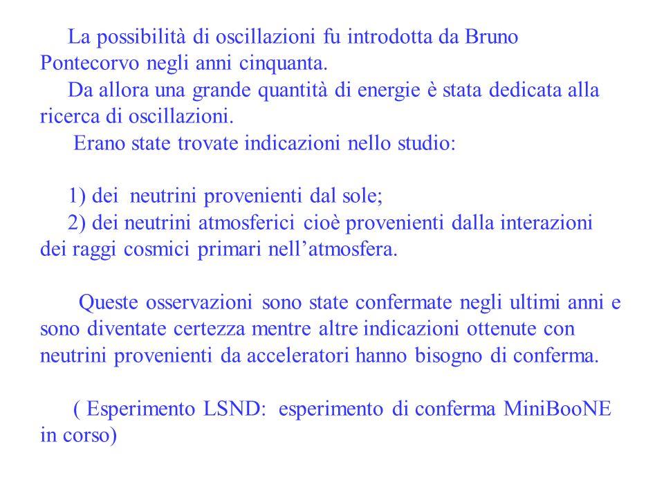 ubaldo dore oscillazioni6 La possibilità di oscillazioni fu introdotta da Bruno Pontecorvo negli anni cinquanta. Da allora una grande quantità di ener