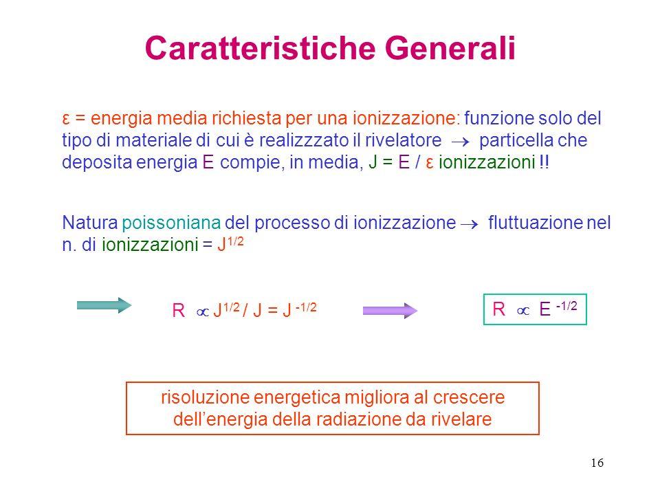 16 Caratteristiche Generali ε = energia media richiesta per una ionizzazione: funzione solo del tipo di materiale di cui è realizzzato il rivelatore p