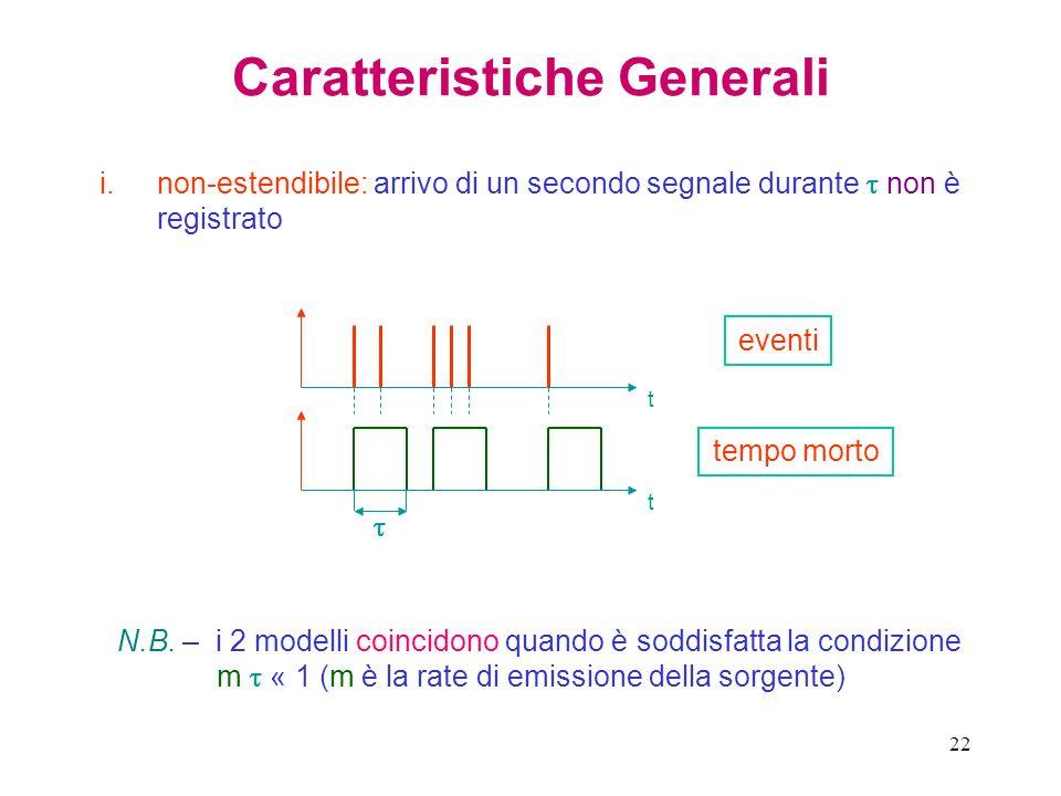 22 Caratteristiche Generali i.non-estendibile: arrivo di un secondo segnale durante non è registrato t t eventi tempo morto N.B. – i 2 modelli coincid