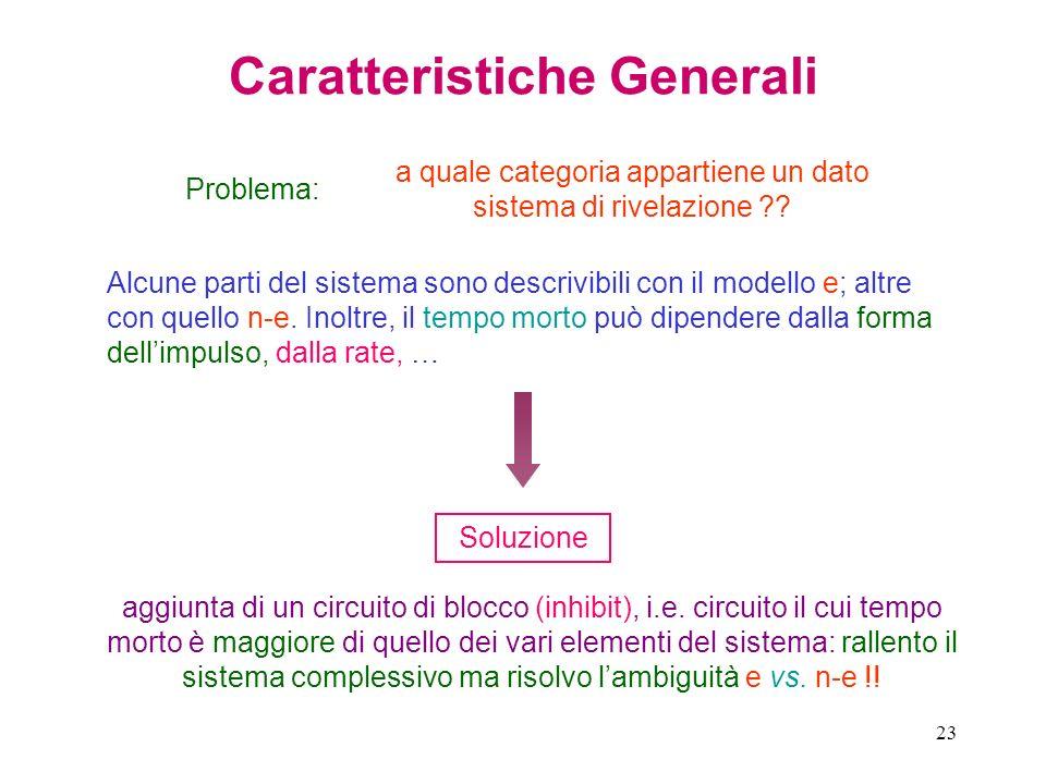 23 Caratteristiche Generali Problema: a quale categoria appartiene un dato sistema di rivelazione ?? Alcune parti del sistema sono descrivibili con il
