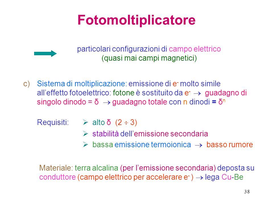38 Fotomoltiplicatore particolari configurazioni di campo elettrico (quasi mai campi magnetici) c)Sistema di moltiplicazione: emissione di e - molto s