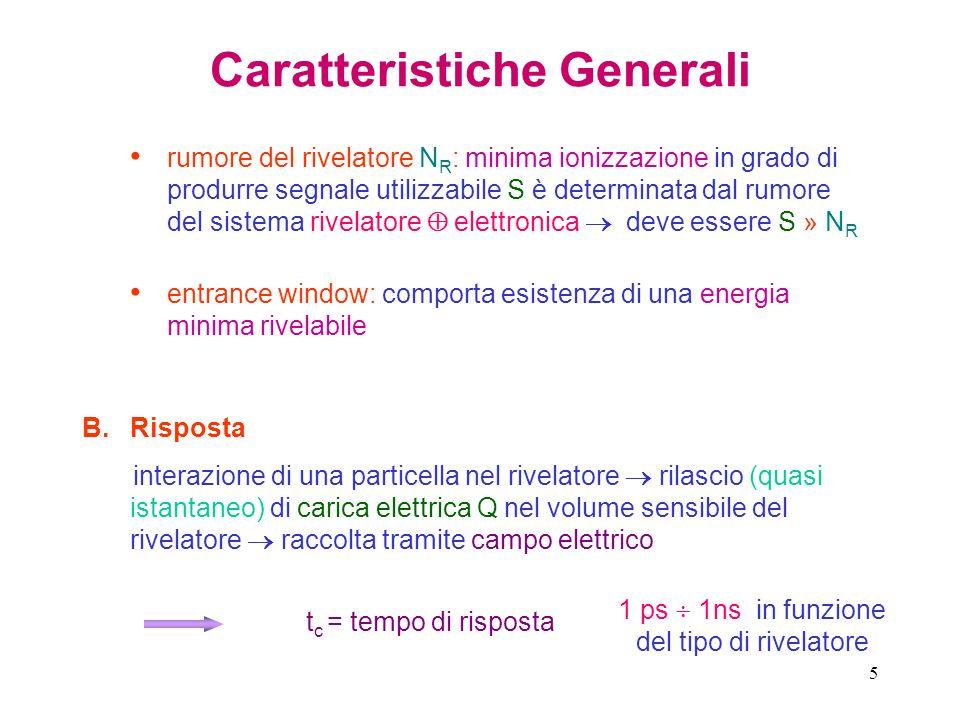 16 Caratteristiche Generali ε = energia media richiesta per una ionizzazione: funzione solo del tipo di materiale di cui è realizzzato il rivelatore particella che deposita energia E compie, in media, J = E / ε ionizzazioni !.