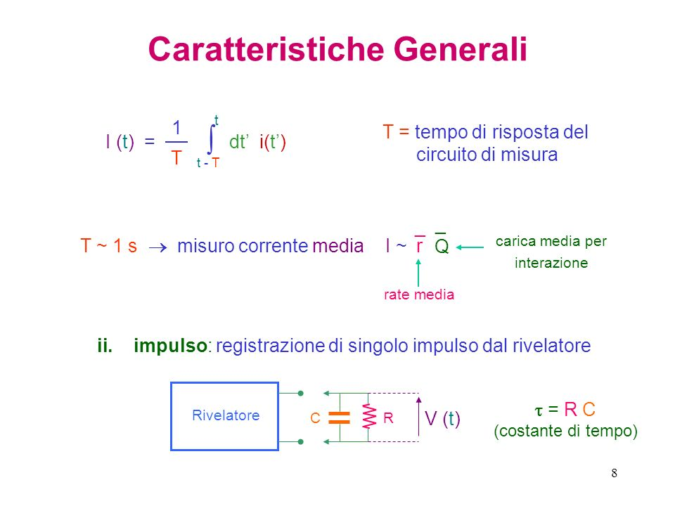 8 Caratteristiche Generali t - T t dt i(t) I (t) = 1 T T = tempo di risposta del circuito di misura T ~ 1 s misuro corrente media I ~I ~ r ¯ Q ¯ ii.im