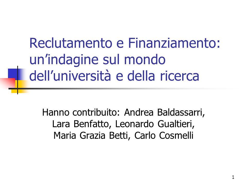 1 Reclutamento e Finanziamento: unindagine sul mondo delluniversità e della ricerca Hanno contribuito: Andrea Baldassarri, Lara Benfatto, Leonardo Gualtieri, Maria Grazia Betti, Carlo Cosmelli