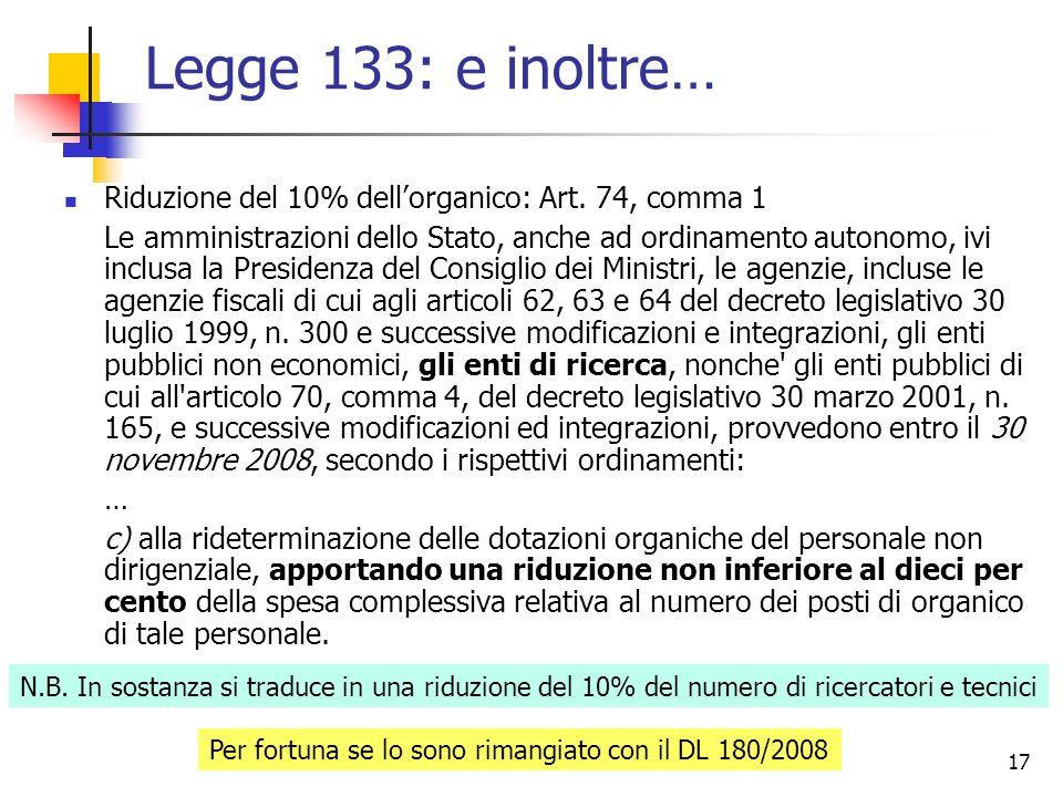 17 Legge 133: e inoltre… Riduzione del 10% dellorganico: Art.