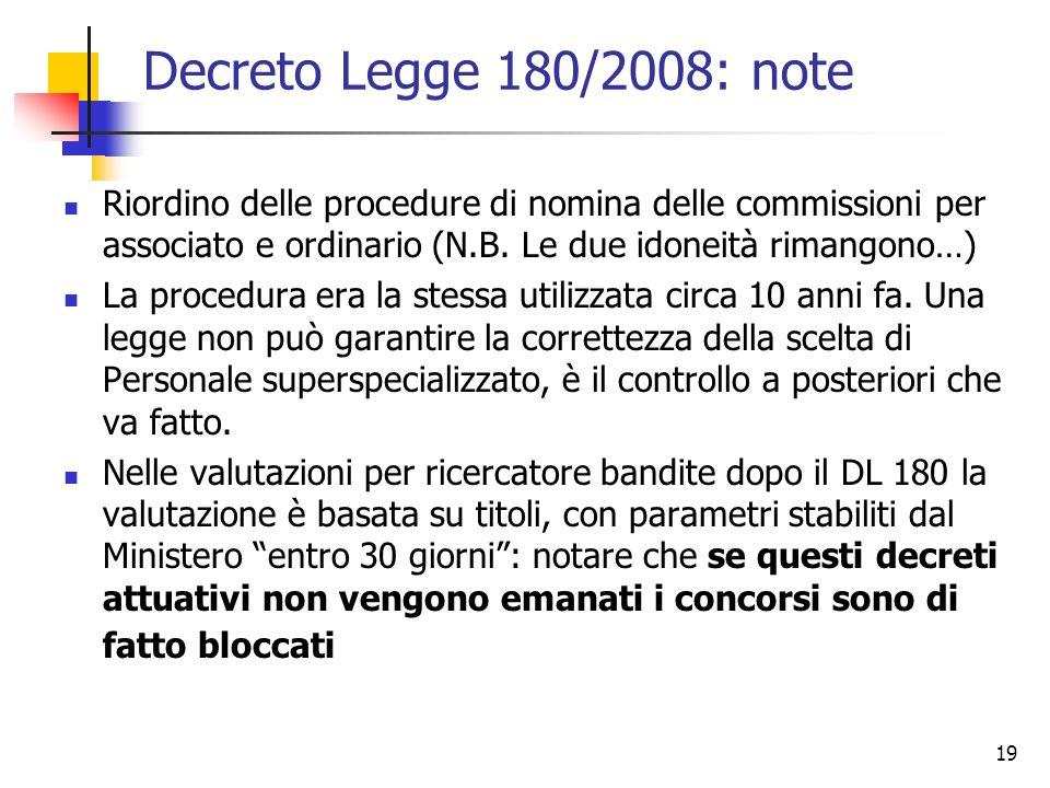 19 Decreto Legge 180/2008: note Riordino delle procedure di nomina delle commissioni per associato e ordinario (N.B.