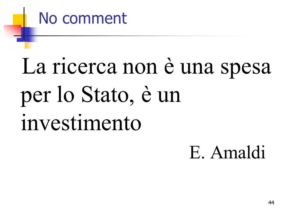 44 No comment La ricerca non è una spesa per lo Stato, è un investimento E. Amaldi