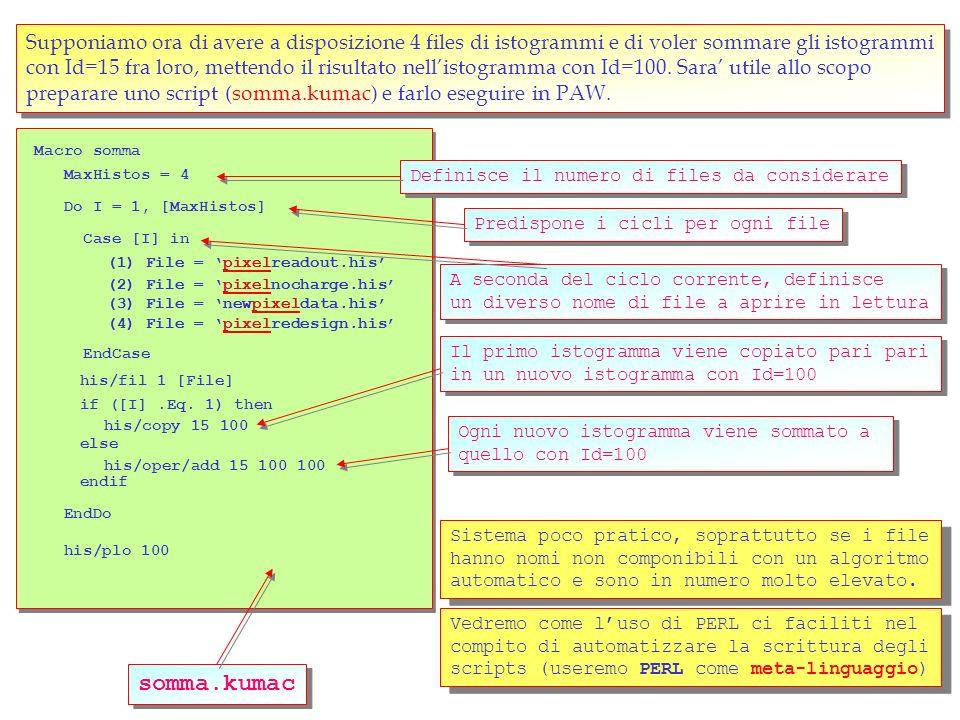 11 unix> paw PAW> his/file 10 histograms_file.his PAW> his/lis PAW> zon 2 2 PAW> his/plo 1 PAW> Palette 1 ===> Directory : //PAWC 1 (1) sin(x)/x 2 (2) sin(x)/x*sin(y)/y PAW> his/plo 2 colz PAW> Set Ncol 50 PAW> surf 2 PAW> h/plo 2 surf4 Ripristina in memoria i dati degli istogrammi leggendoli dal file precedentemente salvato Ripristina in memoria i dati degli istogrammi leggendoli dal file precedentemente salvato