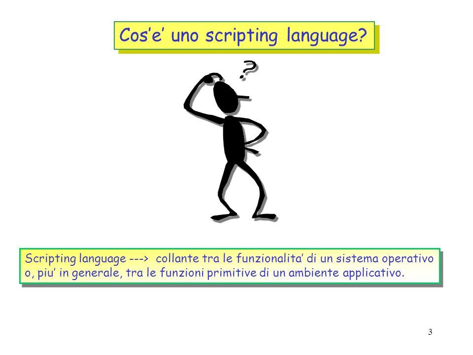 2 Introduzione Cosa sono gli scripting languages Perche ci interessa PERL in particolare rispetto ad altri linguaggi di scripting Guida di sopravviven