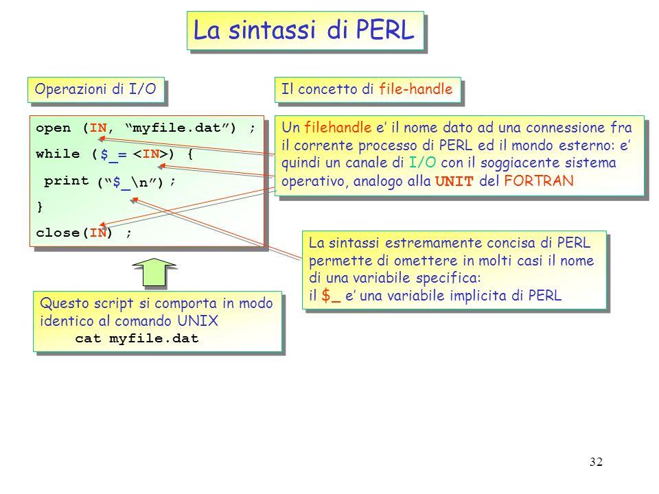 31 La sintassi di PERL Le strutture di controllo Analoghe a quelle di molti linguaggi (tipo C) if (condition1) { block1 ; } elsif (condition2) { block