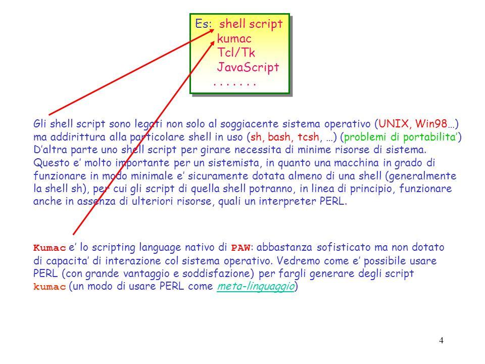 3 Scripting language ---> collante tra le funzionalita di un sistema operativo o, piu in generale, tra le funzioni primitive di un ambiente applicativ