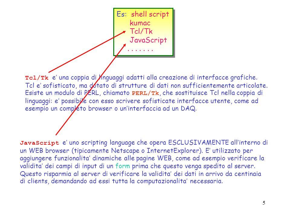 4 Es: shell script kumac Tcl/Tk JavaScript....... Es: shell script kumac Tcl/Tk JavaScript....... Gli shell script sono legati non solo al soggiacente