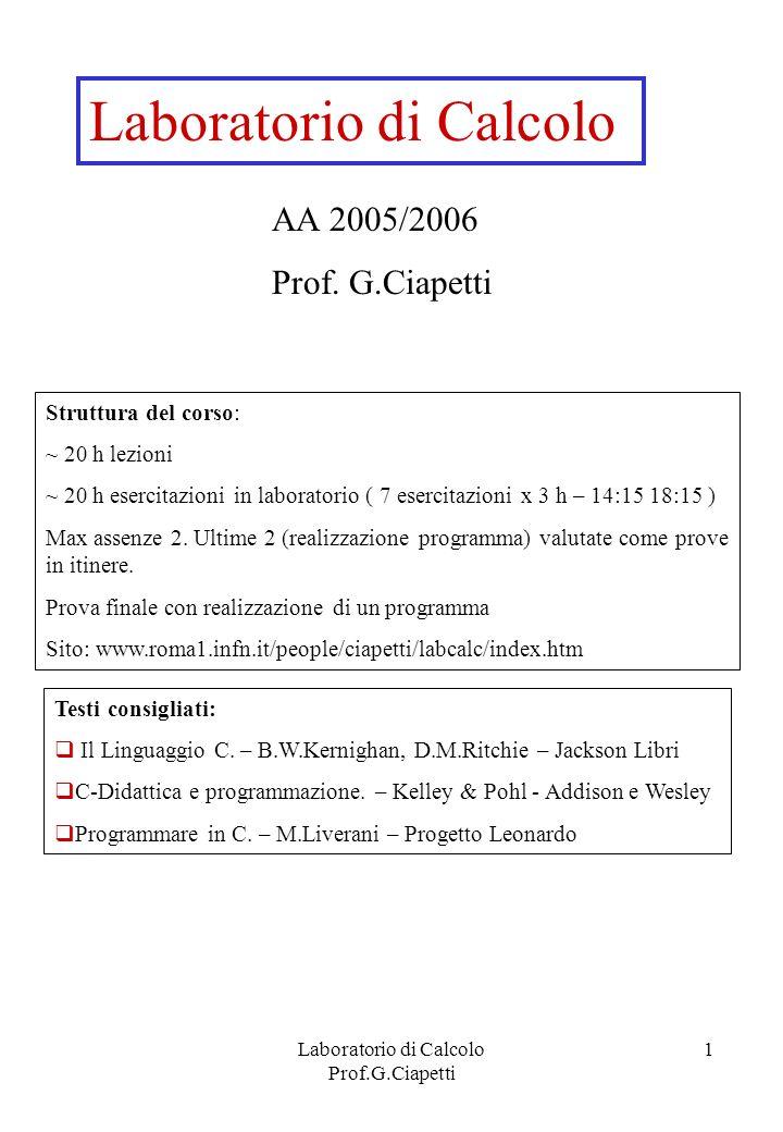 Laboratorio di Calcolo Prof.G.Ciapetti 1 Laboratorio di Calcolo AA 2005/2006 Prof. G.Ciapetti Testi consigliati: Il Linguaggio C. – B.W.Kernighan, D.M