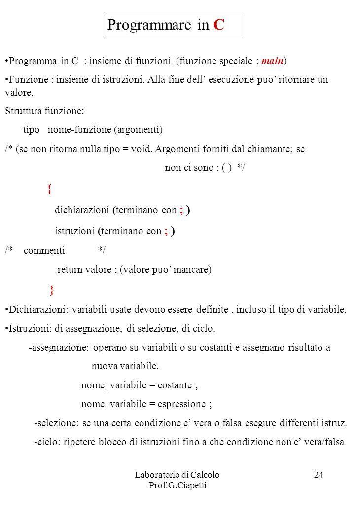 Laboratorio di Calcolo Prof.G.Ciapetti 24 Programmare in C Programma in C : insieme di funzioni (funzione speciale : main) Funzione : insieme di istru