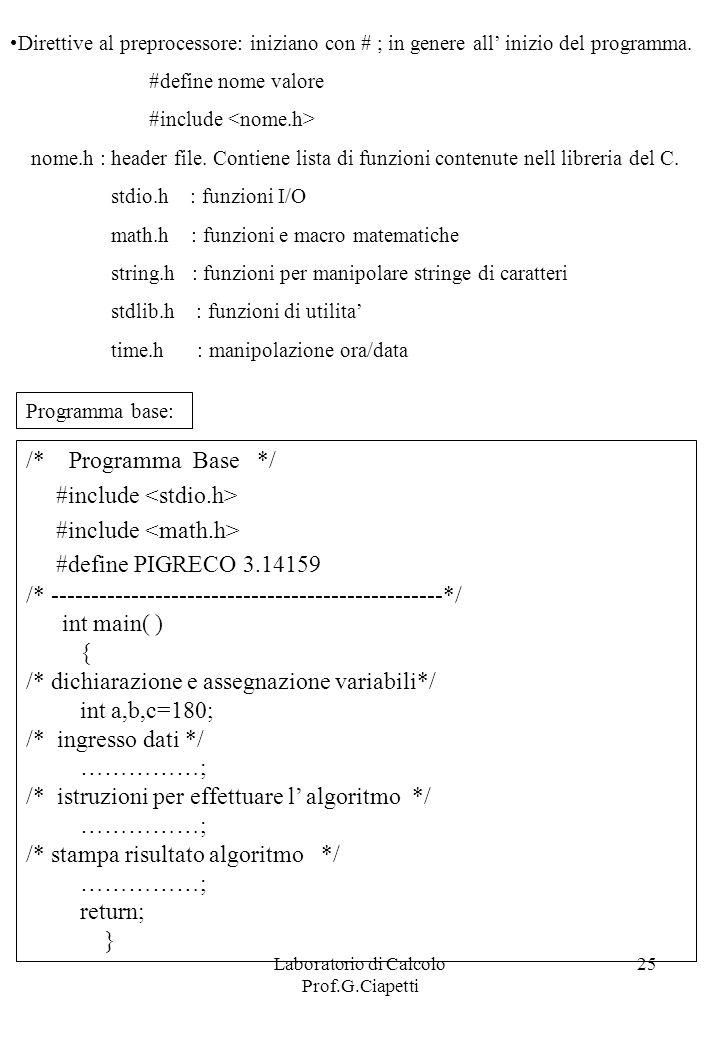 Laboratorio di Calcolo Prof.G.Ciapetti 25 Direttive al preprocessore: iniziano con # ; in genere all inizio del programma. #define nome valore #includ