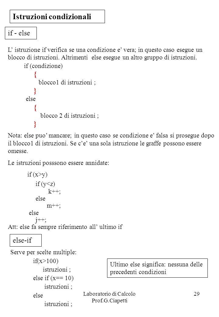 Laboratorio di Calcolo Prof.G.Ciapetti 29 Istruzioni condizionali L istruzione if verifica se una condizione e vera; in questo caso esegue un blocco d