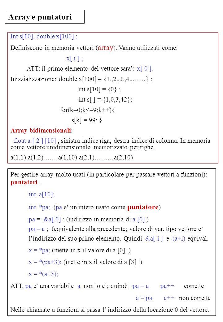 Laboratorio di Calcolo Prof.G.Ciapetti 36 Array e puntatori Int s[10], double x[100] ; Definiscono in memoria vettori ( array ). Vanno utilizzati come