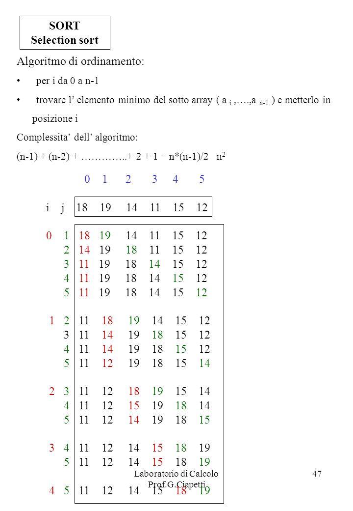Laboratorio di Calcolo Prof.G.Ciapetti 47 SORT Selection sort 0 1 2 3 4 5 i j 18 19 14 11 15 12 0 1 18 19 14 11 15 12 2 14 19 18 11 15 12 3 11 19 18 1