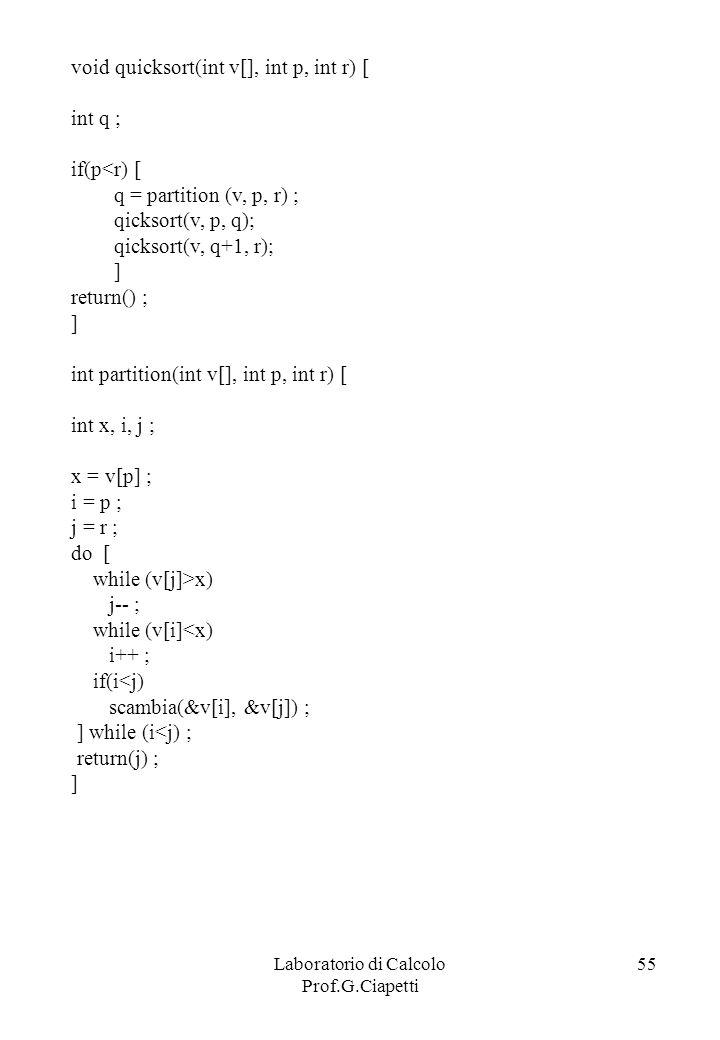 Laboratorio di Calcolo Prof.G.Ciapetti 55 void quicksort(int v[], int p, int r) [ int q ; if(p<r) [ q = partition (v, p, r) ; qicksort(v, p, q); qicks