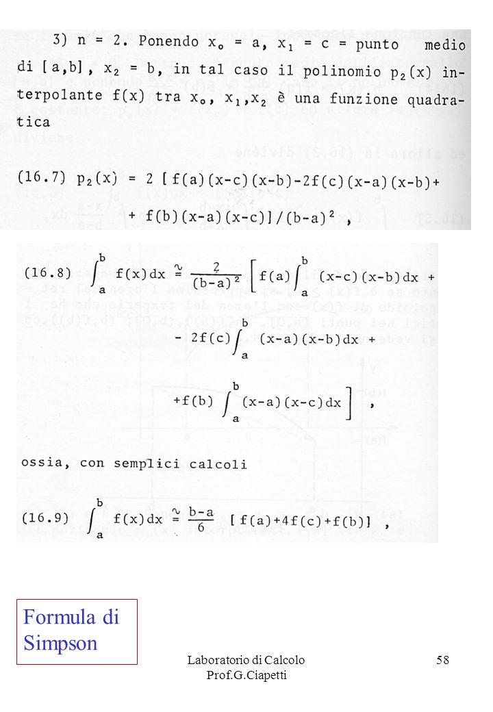 Laboratorio di Calcolo Prof.G.Ciapetti 58 Formula di Simpson