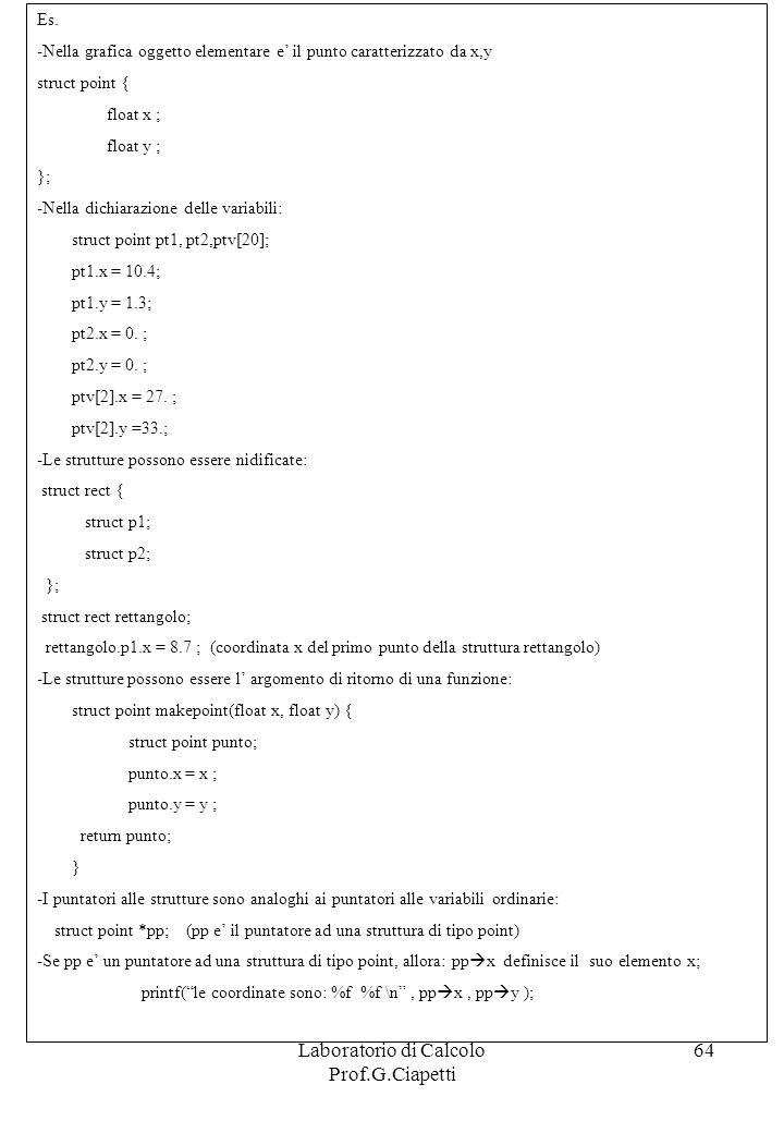 Laboratorio di Calcolo Prof.G.Ciapetti 64 Es. -Nella grafica oggetto elementare e il punto caratterizzato da x,y struct point { float x ; float y ; };