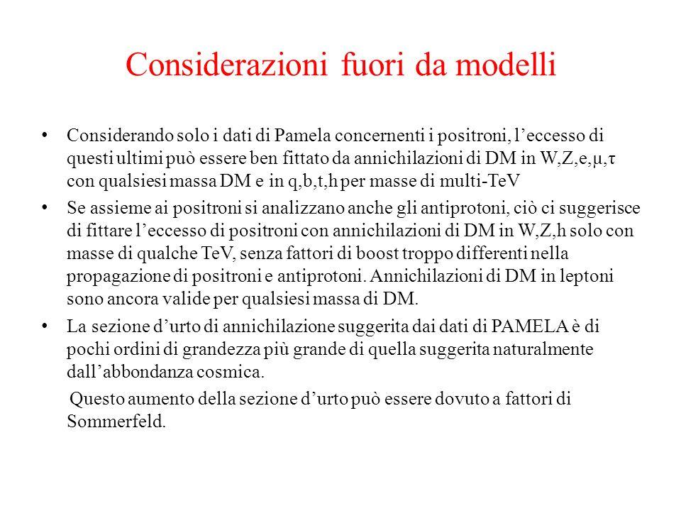Considerazioni fuori da modelli Considerando solo i dati di Pamela concernenti i positroni, leccesso di questi ultimi può essere ben fittato da annich