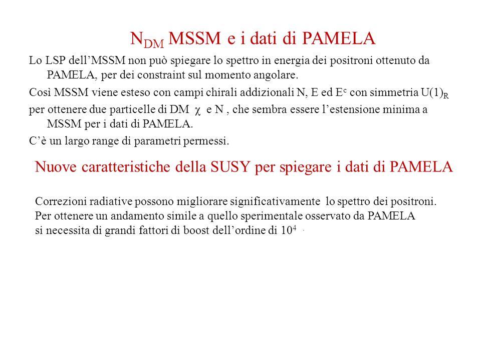 N DM MSSM e i dati di PAMELA Lo LSP dellMSSM non può spiegare lo spettro in energia dei positroni ottenuto da PAMELA, per dei constraint sul momento a