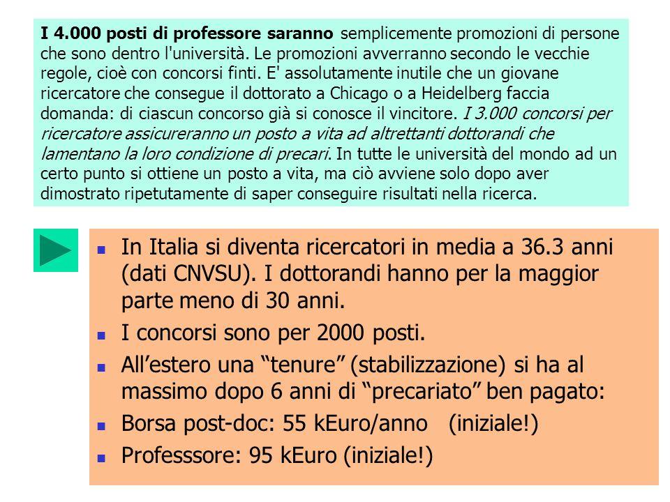 I 4.000 posti di professore saranno semplicemente promozioni di persone che sono dentro l'università. Le promozioni avverranno secondo le vecchie rego