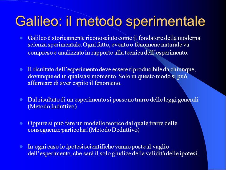 Galileo: il metodo sperimentale Galileo è storicamente riconosciuto come il fondatore della moderna scienza sperimentale. Ogni fatto, evento o fenomen