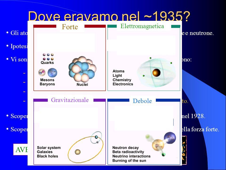 Dove eravamo nel ~1935? Gli atomi sono formati da tre particelle elementari: elettrone, protone e neutrone. Ipotesi del neutrino (rivelato sperimental