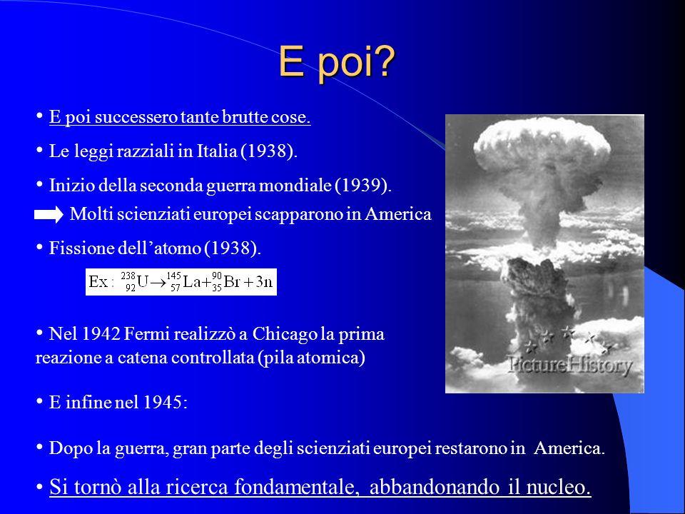 E poi? E poi successero tante brutte cose. Le leggi razziali in Italia (1938). Inizio della seconda guerra mondiale (1939). Molti scienziati europei s