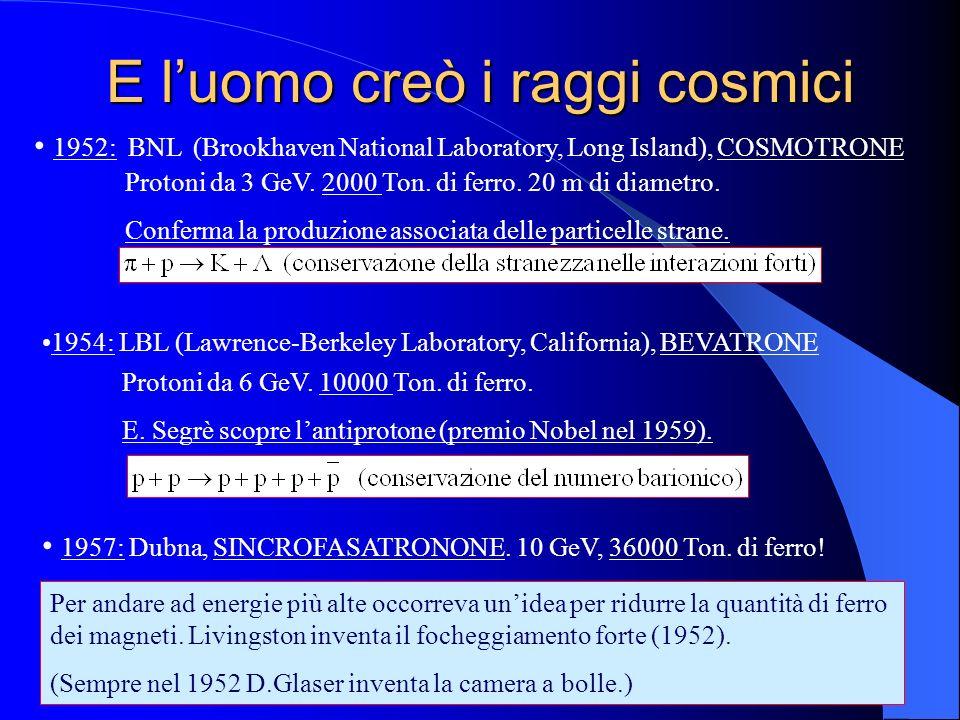 E luomo creò i raggi cosmici 1952: BNL (Brookhaven National Laboratory, Long Island), COSMOTRONE Protoni da 3 GeV. 2000 Ton. di ferro. 20 m di diametr