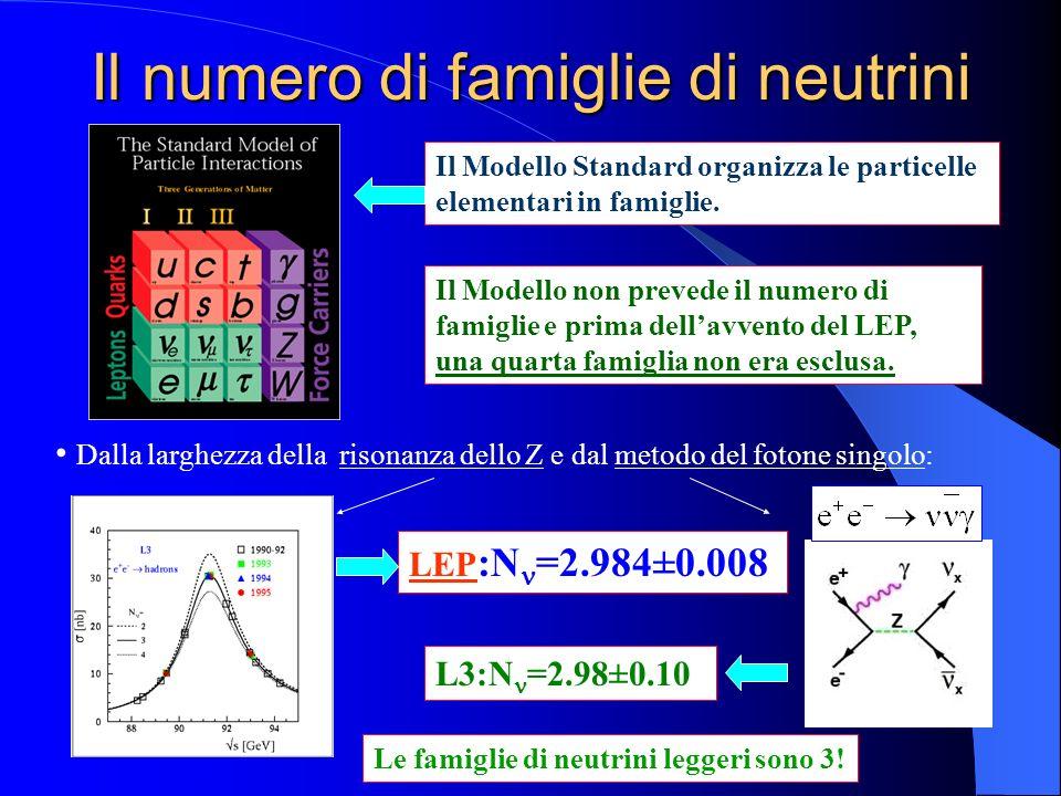 Il numero di famiglie di neutrini Il Modello non prevede il numero di famiglie e prima dellavvento del LEP, una quarta famiglia non era esclusa. Dalla
