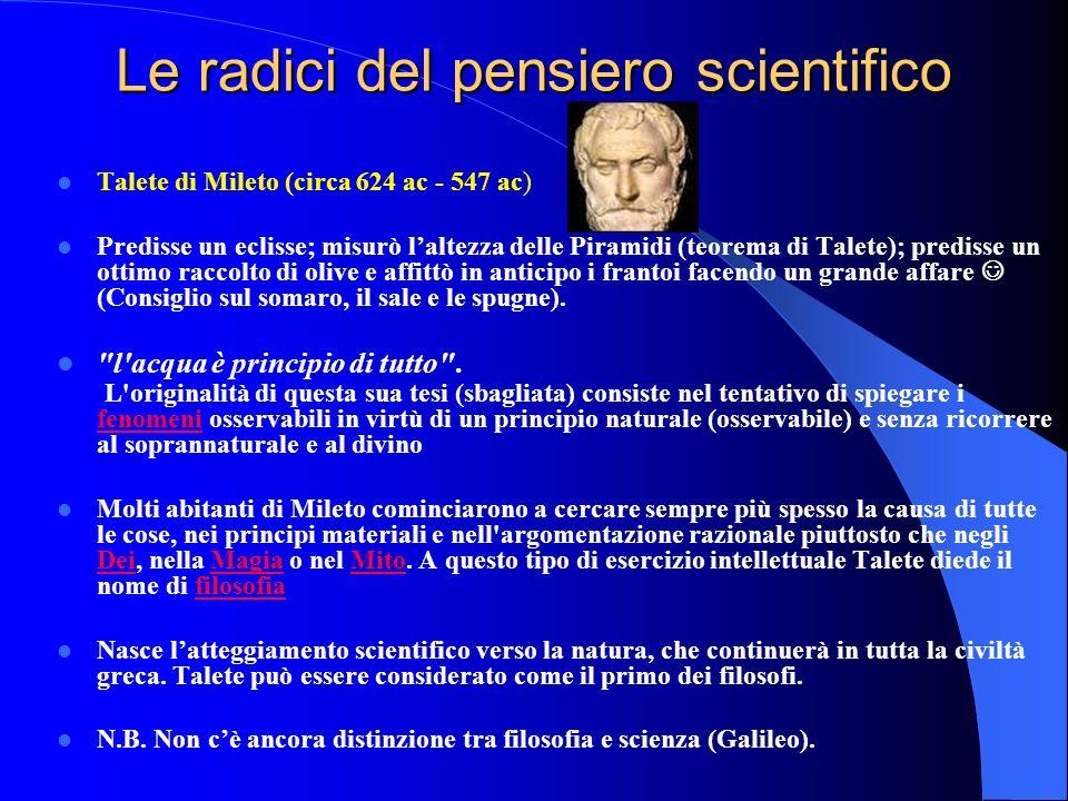 Le radici del pensiero scientifico Talete di Mileto (circa 624 ac - 547 ac) Predisse un eclisse; misurò laltezza delle Piramidi (teorema di Talete); p