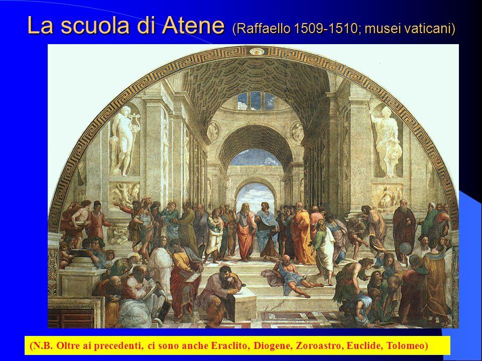 La scuola di Atene (Raffaello 1509-1510; musei vaticani) (N.B. Oltre ai precedenti, ci sono anche Eraclito, Diogene, Zoroastro, Euclide, Tolomeo)