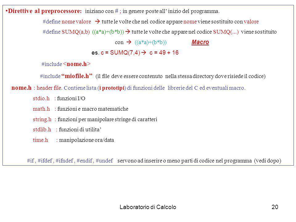 Laboratorio di Calcolo19 Struttura funzione : tipo (di ritorno) nome-funzione (argomenti in ingresso) /* se non ritorna nulla tipo = void. Argomenti f