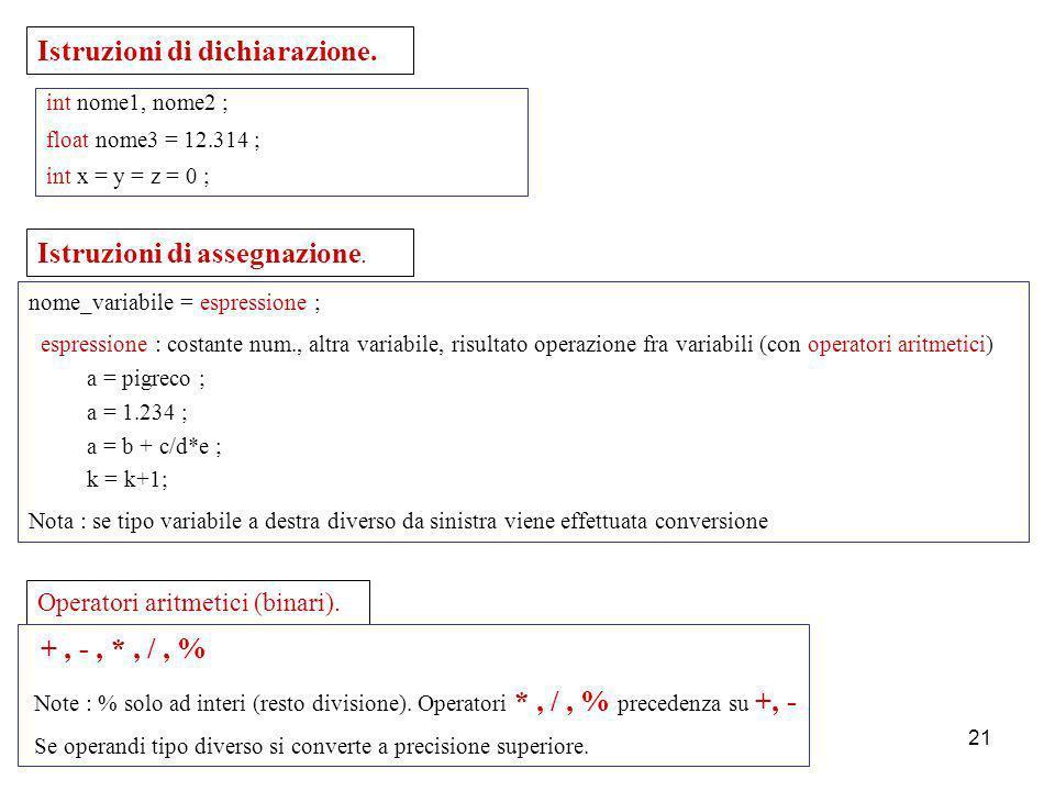 Laboratorio di Calcolo20 Direttive al preprocessore : iniziano con # ; in genere poste all inizio del programma. #define nome valore tutte le volte ch