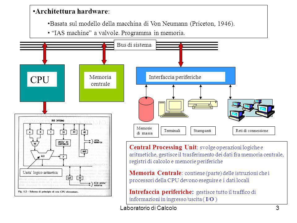 Laboratorio di Calcolo3 Architettura hardware : Basata sul modello della macchina di Von Neumann (Priceton, 1946).