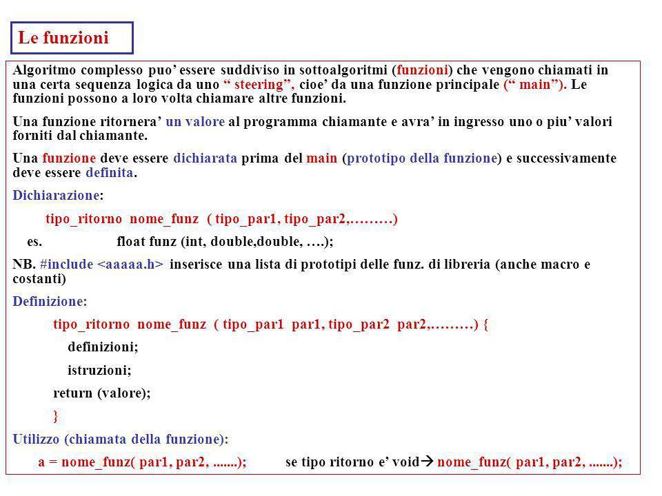 Laboratorio di Calcolo32 Per gestire array molto usati (in particolare per passare vettori a funzioni) i puntatori. int a[10]; int *pa; (pa e un inter
