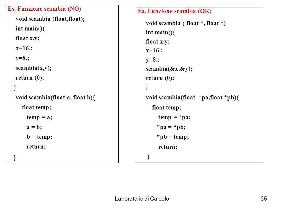 Laboratorio di Calcolo34 Es. double area (float, float); int main(){ float aa,h,b,s; s = 2 * (b+h); aa = area (b, h); printf( perimetro = %f area = %f