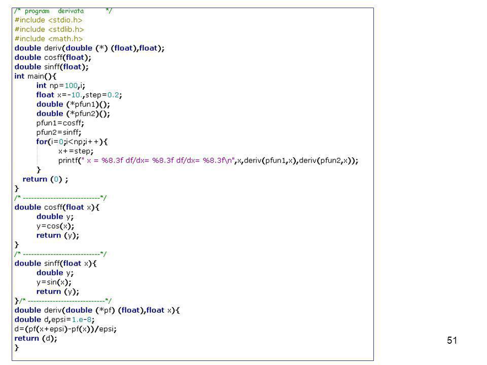 Laboratorio di Calcolo50 Puntatori a funzioni Se funzione deve poter operare su unaltra funzione (es. df(x)/dx ) e necessario poter indirzzare la gene