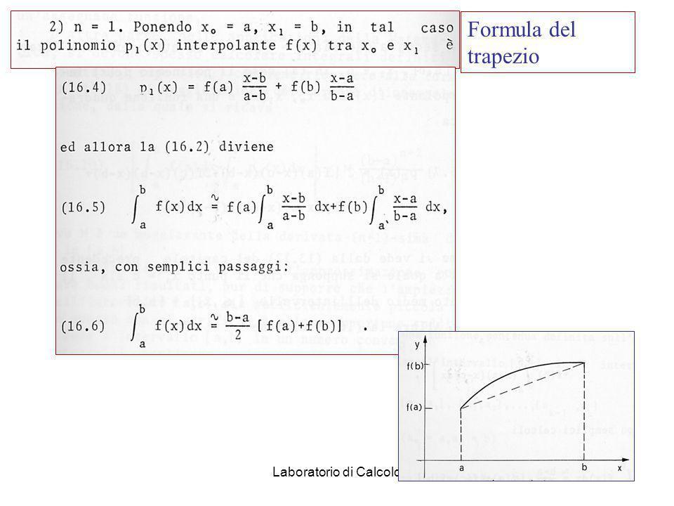 Laboratorio di Calcolo52 Integrazione numerica Se non esiste alcun metodo analitico per integrare la funzione f(x) o se la funzione e nota per punti m