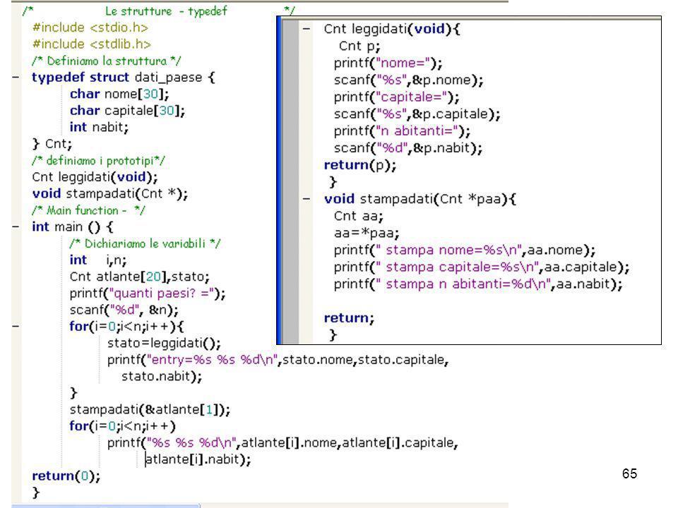 Laboratorio di Calcolo64 Es. -Le strutture possono essere l argomento di ritorno di una funzione: struct point makepoint(float x, float y) { struct po