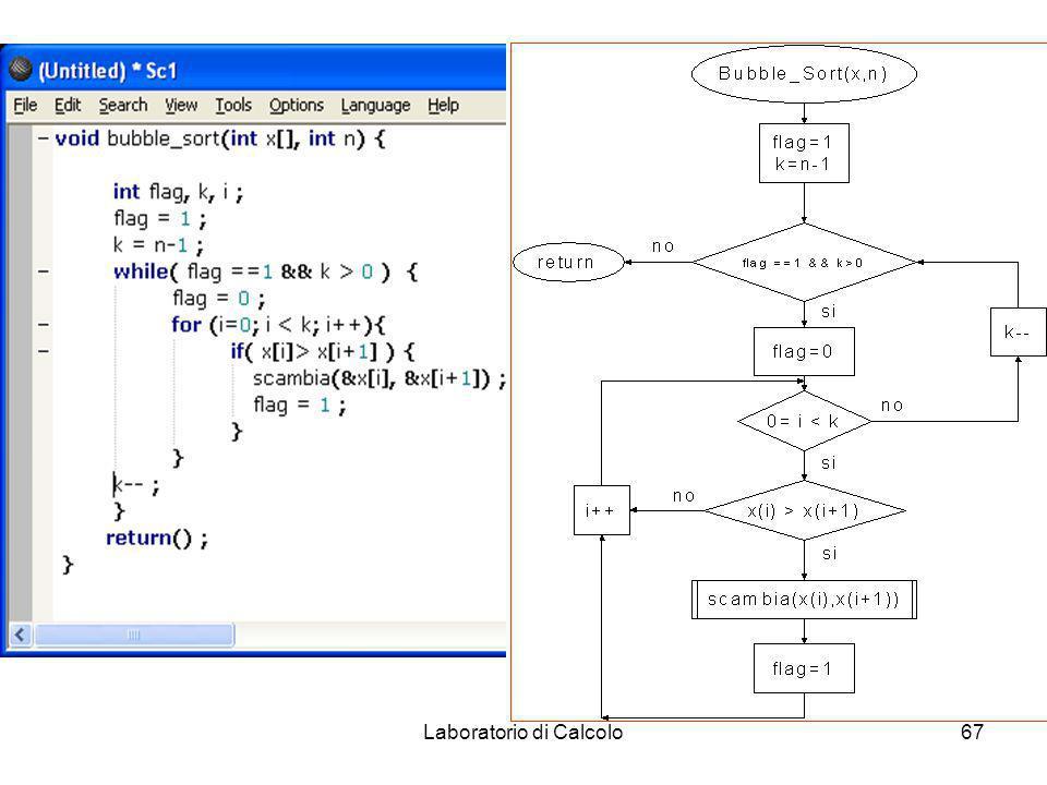 Laboratorio di Calcolo66 Algoritmo di ordinamento: scorrere piu volte l array spostando verso la fine gli elementi piu pesanti e verso l inizio quelli