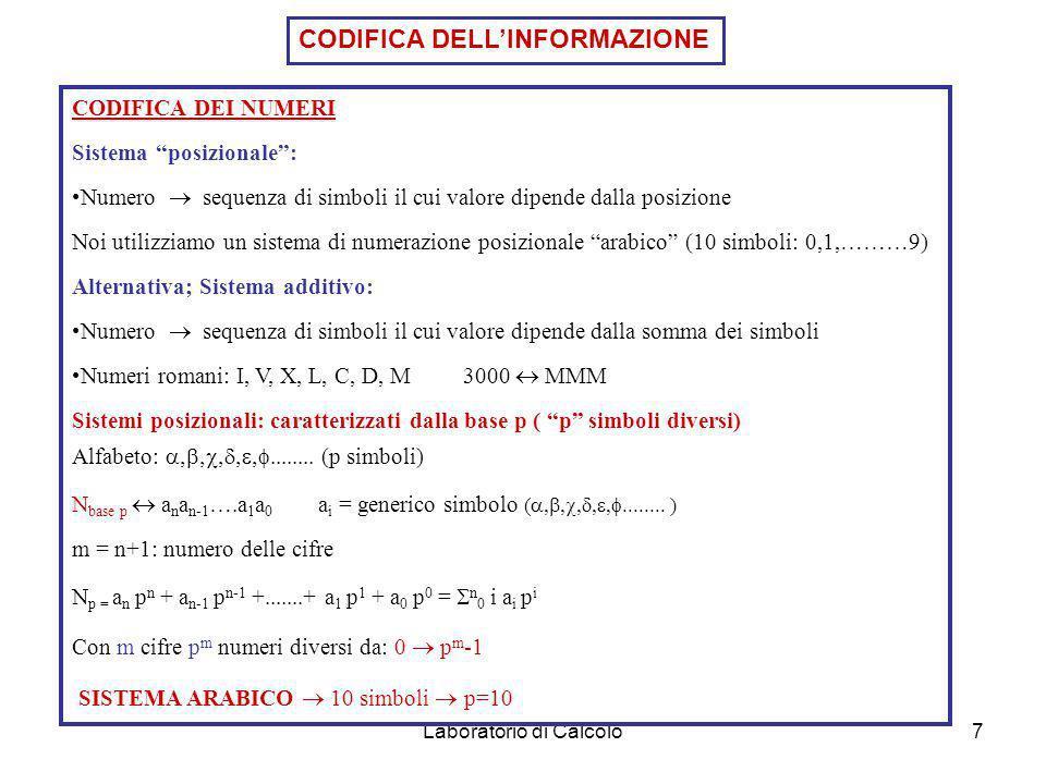 Laboratorio di Calcolo7 CODIFICA DEI NUMERI Sistema posizionale: Numero sequenza di simboli il cui valore dipende dalla posizione Noi utilizziamo un sistema di numerazione posizionale arabico (10 simboli: 0,1,………9) Alternativa; Sistema additivo: Numero sequenza di simboli il cui valore dipende dalla somma dei simboli Numeri romani: I, V, X, L, C, D, M 3000 MMM Sistemi posizionali: caratterizzati dalla base p ( p simboli diversi) Alfabeto: (p simboli) N base p a n a n-1 ….a 1 a 0 a i = generico simbolo ( ) m = n+1: numero delle cifre N p = a n p n + a n-1 p n-1 +.......+ a 1 p 1 + a 0 p 0 = n 0 i a i p i Con m cifre p m numeri diversi da: 0 p m -1 SISTEMA ARABICO 10 simboli p=10 CODIFICA DELLINFORMAZIONE